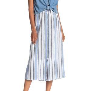 Max Studio striped button down maxi skirt linen L